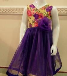 Buy yellow purple net and kota dupin printed kids-sarees kids-frock online