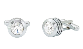 American Diamond Round Silver Rhodium Plated Brass Cufflink Pair for Men