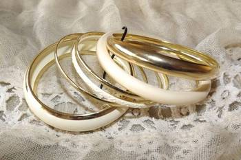 Classy bangles set in ivory and gold