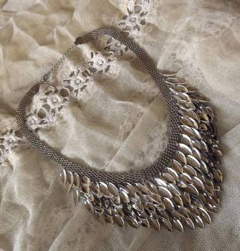 Ethnic Silver Leaves Necklace
