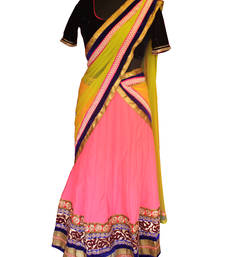 Buy Pink and Blue Kali Lehenga wedding-saree online