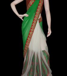 Buy Green Paisley chiffon-saree online