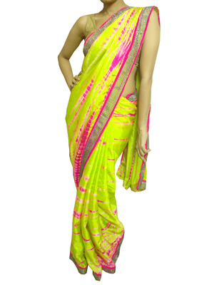 Neon green and pink Pure Crepe Saree