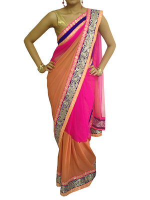 Pink and Brown Net/georgette saree with Neon borders -