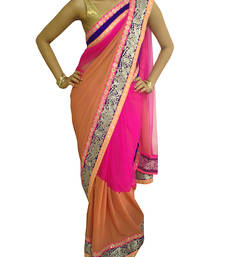 Buy Pink and Brown Net/georgette saree with Neon borders -  georgette-saree online