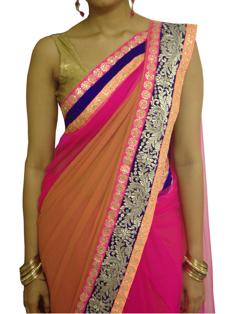 Buy Pink And Brown Net Georgette Saree With Neon Borders