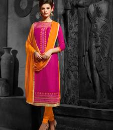 Buy pink embroidered pure cotton semi stitched salwar with dupatta pakistani-salwar-kameez online