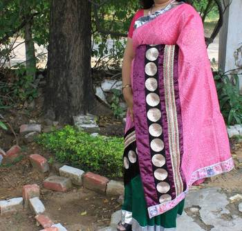 Pink Velvet Chanderi Saree