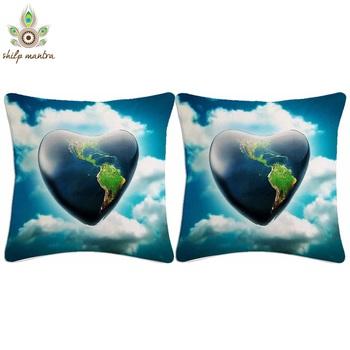 Blue Heart Digital Print Cushion Covers