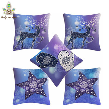 Blue Ribben Combo Digital Print Cushion Covers