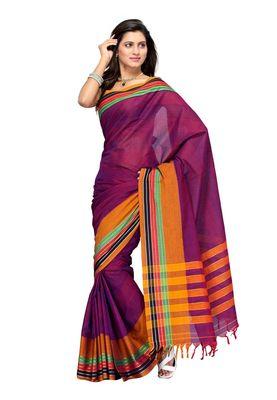 Cotton Bazaar Dark Pink & Orange Pure Cotton Saree
