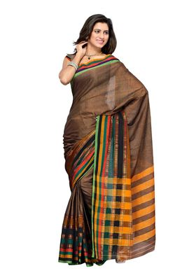 Cotton Bazaar Brown Pure Cotton Saree