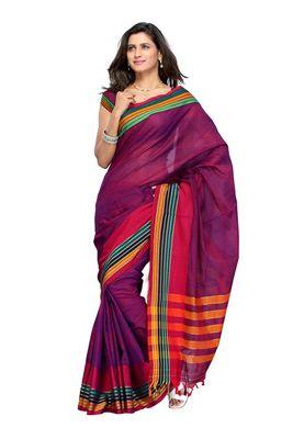Cotton Bazaar Pink & Violet Pure Cotton Saree