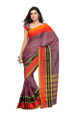 Cotton Bazaar Brown & Orange Pure Cotton Saree
