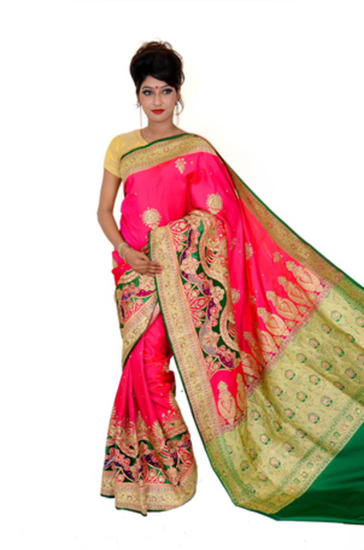 Pink And Green Embroidered Silk Saree With Blouse Bs Creation 742633