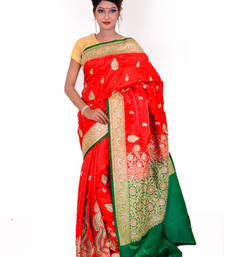 Buy Red and Green embroidered silk saree with blouse anniversary-gift online