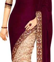 Buy maroon embroidered velvet saree with blouse traditional-saree online