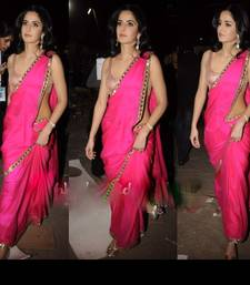 Buy Katrina Kaif Hot Pink Chiffon with Gold Border georgette-saree online
