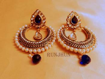 royal blue chaandbali danglers