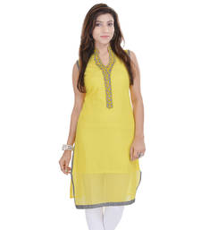 Yellow Free Size Georgette Designer Kurti