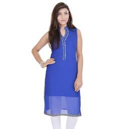 Blue Free Size Georgette Designer Kurti