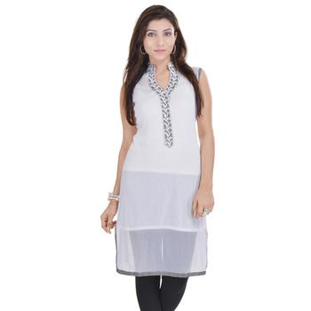 White Free Size Georgette Designer Kurti