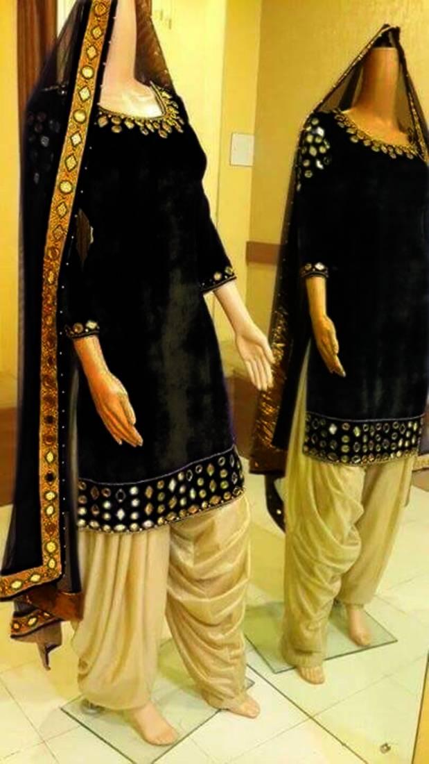 9b1e4f810ce Black plain velvet semi stitched salwar with dupatta