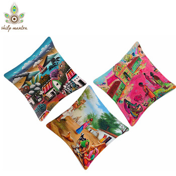 Life of Village Digital Print Cushion Covers