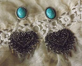 Ethnic Blue Stone Earrings in Silver Oxydized
