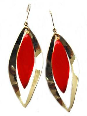 Golden Red Office Casual Earrings