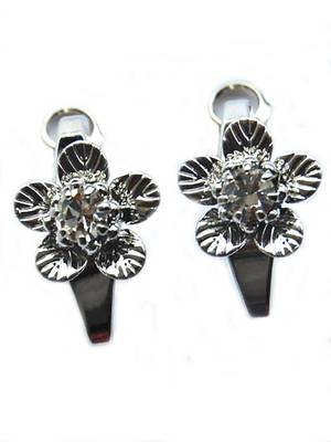 Silver AD Flower Casual Studs