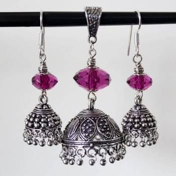 Purple Jhumki Pendant and Earring Set