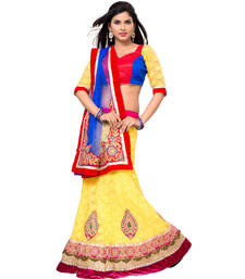 Buy Yellow Embroidered Net Lehenga Choli With  Blouse ethnic-lehenga online