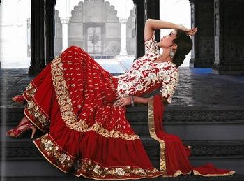 Fancy Crimson Designer Faux Georgette & Senton Salwar Kameez
