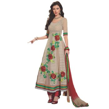 Sahiba Pure Georgette Cream Color Designer Dress Material Anar3705