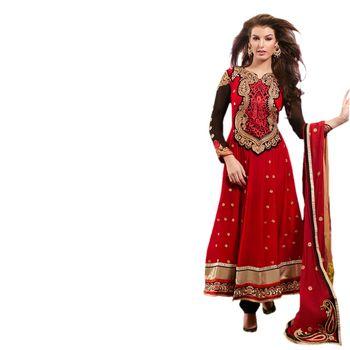 Hypnotex Faux Georgettte Maroon Color Designer Dress Material Missindia5003