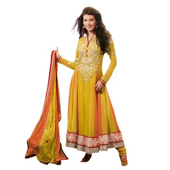 Hypnotex Faux Georgettte Yellow Color Designer Dress Material Missindia5006