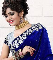 Buy Blue embroidered velvet saree with blouse bridal-saree online