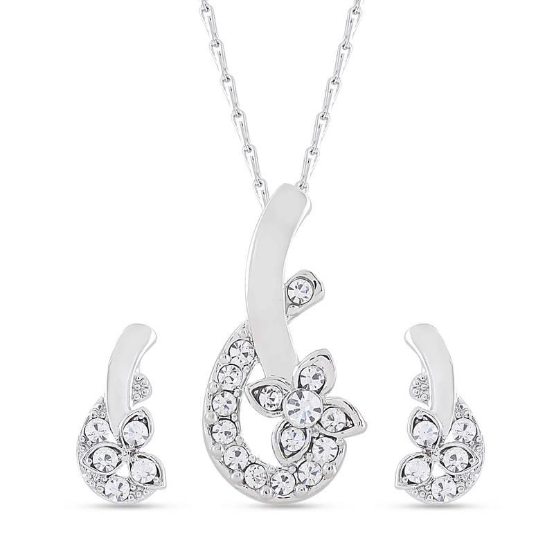 buy beautiful diamond pendant set and matching earrings online
