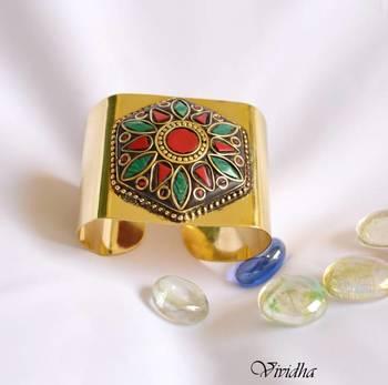 Statement style Tibetan Cuff Bracelet