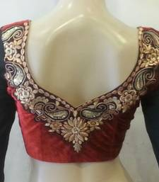 Maroon velvette embroidered full sleeves blouse
