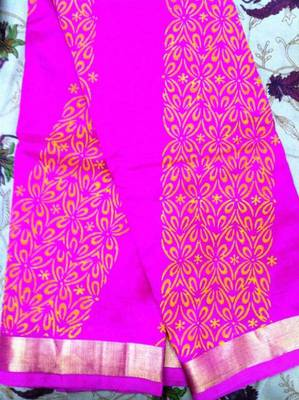Pink cotton silk with block print
