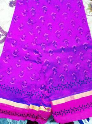 Purple cotton silk printed saree