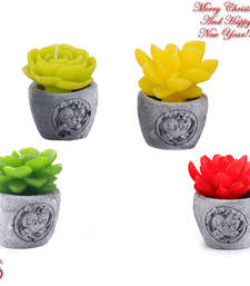 Buy Beautiful Floral Shape Decorative Candles with Stand (Set of 4) christmas-decoration online