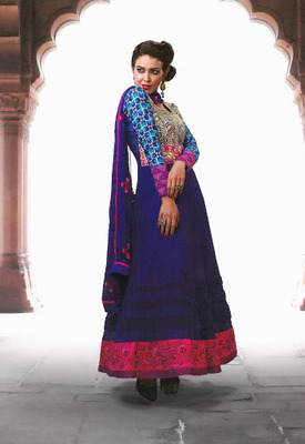 Fascinating Navy Blue & Trquoise Blue  Faux Georgette & Senton Long Length Anarkali Salwar Kameez