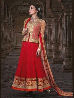 Gleaming Crimson   Faux Georgette & Net & Senton Long Length Anarkali Salwar Kameez