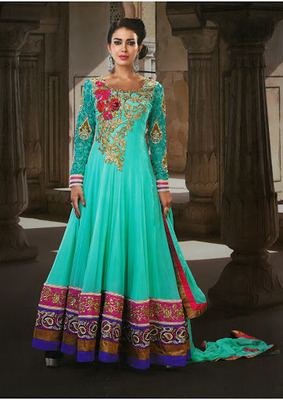 Melodic Geenish Blue  Faux Georgette & Senton Long Length Anarkali Salwar Kameez