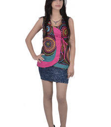 Buy Cotton Printed Black Color  Top party-top online