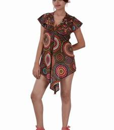 Buy Cotton Printed Brown Color Top top online