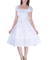 Buy Cotton Plain White Color Tyre Dress other-apparel online